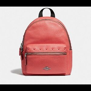 Coach Coral Studded Mini Leather Backpack